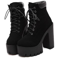 Black Chunky High Heel Hidden Platform Boots