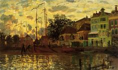 The Dam at Zaandam, Evening, 1871 (oil on canvas) by Monet, Claude info.: Le Dam a Zaandam, Le Soir Monet Paintings, Impressionist Paintings, Landscape Paintings, Impressionism Art, Landscapes, Claude Monet, Pierre Auguste Renoir, European Paintings, Oil Painting Reproductions