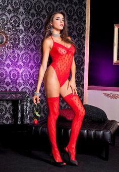 Music Legs 52049 Kırmızı Dantel Desenli Body Çorap İkili Takım