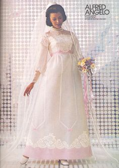 """Love Lights"" collection styled by Edythe Vincent, 1974, vintage designer fashion bride ad"