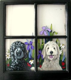 Vintage Wooden Window with a Portrait of Your Dogs, Custom Goldendoodle Art From Your Pet Photo Painted Window Art, Window Frame Decor, Hand Painted, Goldendoodle Art, Goldendoodles, Stuffed Animal Storage, Wooden Windows, Unique Animals, Dog Paintings