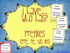 Free - I Have, Who Has?  Prefixes
