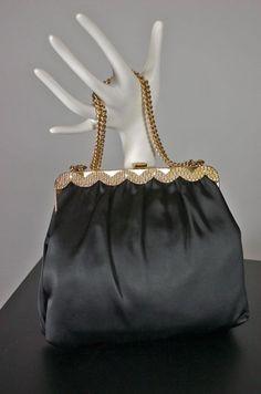 1960s evening bag black satin vintage frame handbag from Viva Vintage Clothing