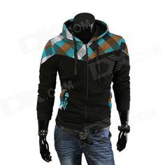 2014 Autumn & Winter New Men's Fashionable Slim Plaid Hooded Fleece Coat - Black (XXL) - From 29,= for Euro 15,20