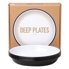 Falcon Enamelware Deep Plate Set - Coal Black with Packaging Box #shoppigment and #pigmentwishlist @shoppigment