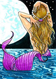 Items similar to Dreamy Light fantasy blonde moon mermaid aceo print on Etsy Mermaid Artwork, Mermaid Drawings, Art Drawings, Mermaid Paintings, Unicorns And Mermaids, Mermaids And Mermen, Fantasy Mermaids, Mermaid Pictures, The Little Mermaid
