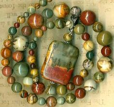 """Red Creek Jasper Beads Pendant 4 12mm Rounds 17"""" Str Gorgeous Natural Color   eBay"""