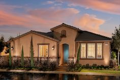 The single story Chelsea model showcases the Tuscan architectural style at The Heights at Loma Vista by McCaffrey Homes