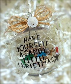 Have yourself a sandy little Christmas McNamara Davis this is for you! Beach Christmas Trees, Coastal Christmas Decor, Nautical Christmas, Tropical Christmas, Little Christmas, Holiday Fun, Christmas Holidays, Blue Christmas, Holiday Ornaments