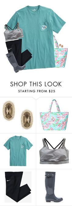 """""""My favorite account is in the D!!"""" by mac-moses ❤ liked on Polyvore featuring Kendra Scott, Lilly Pulitzer, lululemon, NIKE and Hunter"""