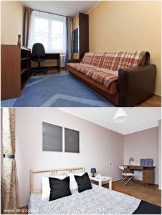 Sypialnia przed i po. Stare, smutne pomieszczenie nabrało kolorytu nowoczesności i nowego stylu życia!    #MieszkaniaOlsztyn Home Staging, Contemporary, Rugs, Bed, Furniture, Home Decor, Homemade Home Decor, Stream Bed, Types Of Rugs