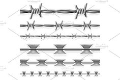 Safety steel barbed and razor wire vector seamless prison borders set Graphics Safety steel barbed and razor wire vector seamless prison borders set. Barrier with steel barbed for by MicroOne