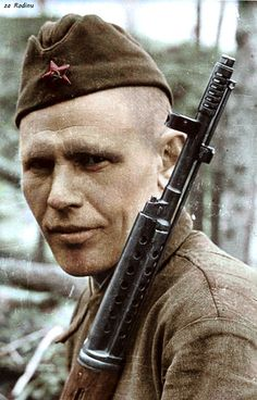 Soviet soldier with SVT-40. Colourized photo.