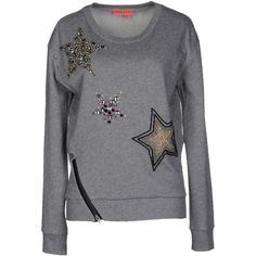 Manila Grace Denim Sweatshirt ($79) ❤ liked on Polyvore featuring tops, hoodies, sweatshirts, grey, grey top, long sleeve tops, manila grace, gray sweatshirt and gray top