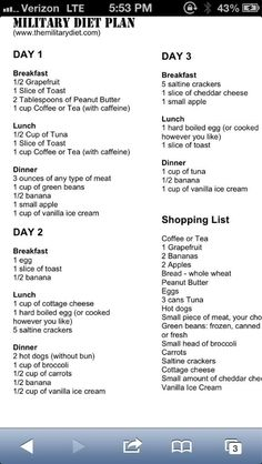 Have to try this again Military Diet Plan.