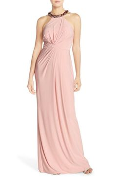 Adrianna Papell Jewel Neck Jersey Gown available at #Nordstrom