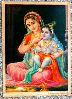 """India vintage 10"""" x 14"""" Hindu poster Yashoda & Krishna picclick.com"""