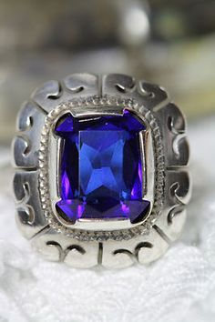 Vintage Mexican 925 Sterling Silver Calar Deep Royal Blue Faux Sapphire Ring | eBay