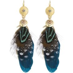 Gas Bijoux Sao Feather Earrings (155 AUD) ❤ liked on Polyvore featuring jewelry, earrings, green, feather earrings, green feather earrings, gas jeans, earring jewelry and green earrings
