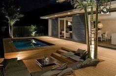 Interesting Wooden Deck Design Ideas For Outdoor Swimming Pool - Page 34 of 48 Garden Architecture, Architecture Design, Outdoor Swimming Pool, Swimming Pools, Deck Design, House Design, Window Design, Garden Design, Mediterranean Decor
