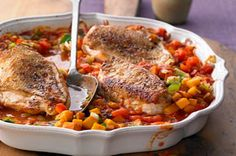 Need a new chicken recipe? Then, check out our recipe for Chicken with Fall Ratatouille. This delicious recipe features lots of great fall vegetables.