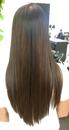 Long straight black with brown highlights hair. V hair cut cosmetology