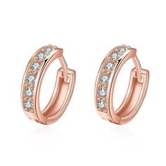 Rose Gold Plated Classic Diamond Jewels Mini Hoop Earrings from Rubique Jewelry