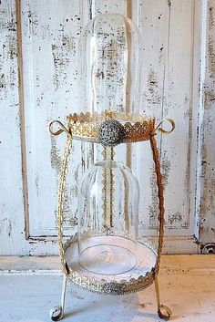 Double glass dome w/ salvaged base ornate shabby cottage chic cloche display embellished rhinestone trim dolls and decor anita spero design Shabby Chic Cottage, Shabby Chic Decor, Vintage Gifts, Vintage Home Decor, Double Glass, Glass Domes, Art Decor, Art Pieces, Display Cases