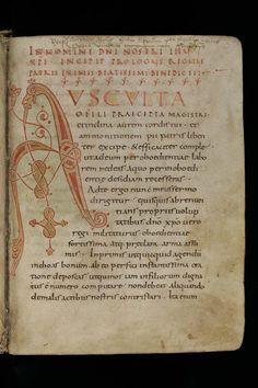 "The more common variant of the Rule of Benedict in medieval manuscripts starts with ""Ausculta"" (""listen""). 916 dates from the to centuries. La Reproduction, Medieval Manuscript, 11th Century, Writing, Dates, Ms, Writing Process"