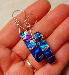 handmade fused dichroic glass rectangular two by ChrysalisDreams Dichroic Glass Jewelry, Glass Earrings, Resin Jewelry, Glass Pendants, Jewelry Art, Jewellery, Alcohol Ink Jewelry, Sea Glass Mosaic, Glass Fusing Projects