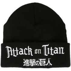 Attack On Titan Logo Watchman Beanie Hot Topic ($15) ❤ liked on Polyvore featuring accessories, hats, black hat, embroidered hats, black beanie hat, embroidered beanie and logo hats