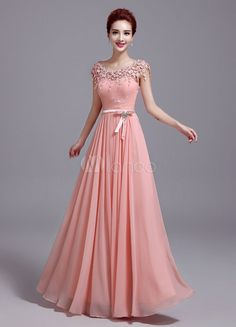 Chiffon Evening Dress Soft Pink Prom Dress Lace Flower Tassel A Line Maxi Graduation Dress With Bow Sash wedding guest dress Indian Gowns Dresses, Indian Fashion Dresses, Pink Prom Dresses, Pink Gowns, Dresses Dresses, Party Dresses, Long Dress Design, Stylish Dress Designs, Stylish Dresses