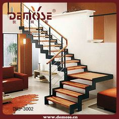 - Quarter-turn staircase / wooden frame / metal frame / wooden steps by Hangzhou Mansion Material Wood Railings For Stairs, Stair Railing Design, Home Stairs Design, Staircase Railings, Interior Stairs, House Design, Steel Stairs, Interior Railings, Design Interiors