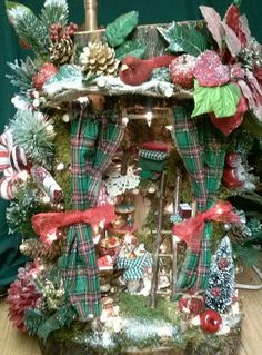 NEW for the Holidays! A miniature fairy house from the treequeen! VISIONS of SUGAR PLUMS Available at http://www.weetreehome.com