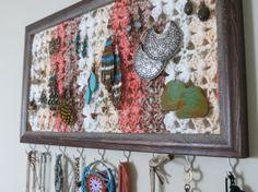 Jewelry Frame/Organizer-Crochet Wall Art-Earring Holder-Necklace Hooks-Repurposed-On Sale