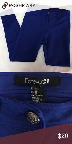 Blue dressy leggings Polyester/Spandex material. Perfect for work and events! Forever 21 Pants