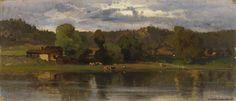 Kansallisgalleria - Taidekokoelmat - Lehmiä järvimaisemassa, iltatunnelma