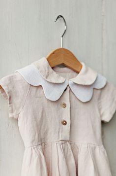 Girls Handmade Vintage Style Linen Dress & Butterfly Collar | SondeflorShop on Etsy