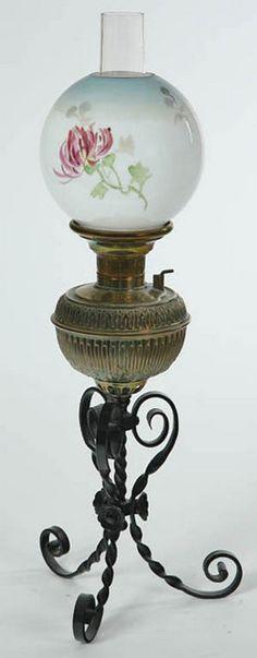 Antique oil lamp brass wrought iron globe glass shade 1800s original antique oil lamp brass wrought iron globe glass shade 1800s original ebay oil lamps pinterest oil lamps glass shades and wrought iron aloadofball Gallery