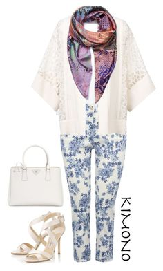 """kimono #2"" by queenofchill ❤ liked on Polyvore featuring New Look, M&Co, Elie Saab, Jane Carr, Prada, Jimmy Choo, white, colorful, kimono and kimonos"
