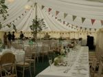 Bunting Queen's Dusky Pink and Sage Green range of Bunting on hire at a marquee wedding, available from per metre for a 4 day hire period. Wedding Bunting, Marquee Wedding, Table Decorations, Gallery, Sage, Green, Period, Pink, Action