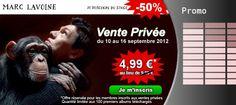 Le Nouvel album de Marc Lavoine est disponible à prix mini ! Du 10 au 16 Septembre 2012 profitez de notre Vente Privée au prix incroyable de 4.99 € au lieu de 9.99 €