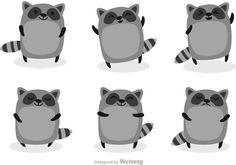 Set of cute raccoons Free Vector Cartoon Cartoon, Cartoon Drawings, Cute Raccoon, Racoon, Raccoon Art, Raccoon Illustration, Cute Illustration, Raccoon Drawing, Funny Doodles