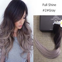 Tape Hair Ombre Color #2 Fading to Grey