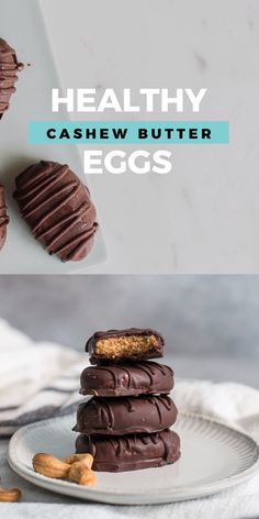 These Healthy Cashew Butter Eggs are a take on your favorite seasonal peanut butter cup egg made healthy by using ingredients like dark chocolate, all natural cashew butter, maple syrup, coconut flour Paleo Dessert, Healthy Dessert Recipes, Paleo Recipes, Healthy Recipe Videos, Flour Recipes, Delicious Desserts, Reese Peanut Butter Eggs, Vegan Peanut Butter, Cashew Butter