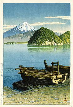 Morning, Mitohama Beach  by Kawase Hasui, 1953  (published by Watanabe Shozaburo) 伊豆三津浜(みとはま)