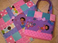 Dora the Explorer Baby Doll Diaper Bag and Matching Doll Quilt. $42.00, via Etsy.