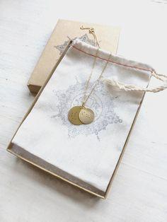 Latón/doble collar de encanto de constelación de zodiaco //Mini círculo colgante…