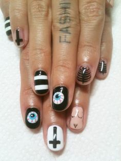 Funky nails. i like but i'll prob stick to just the stripes :)