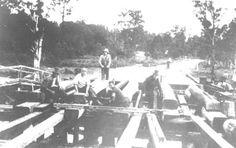 Building a bridge, South Creek (Snake Creek) Warners Bay